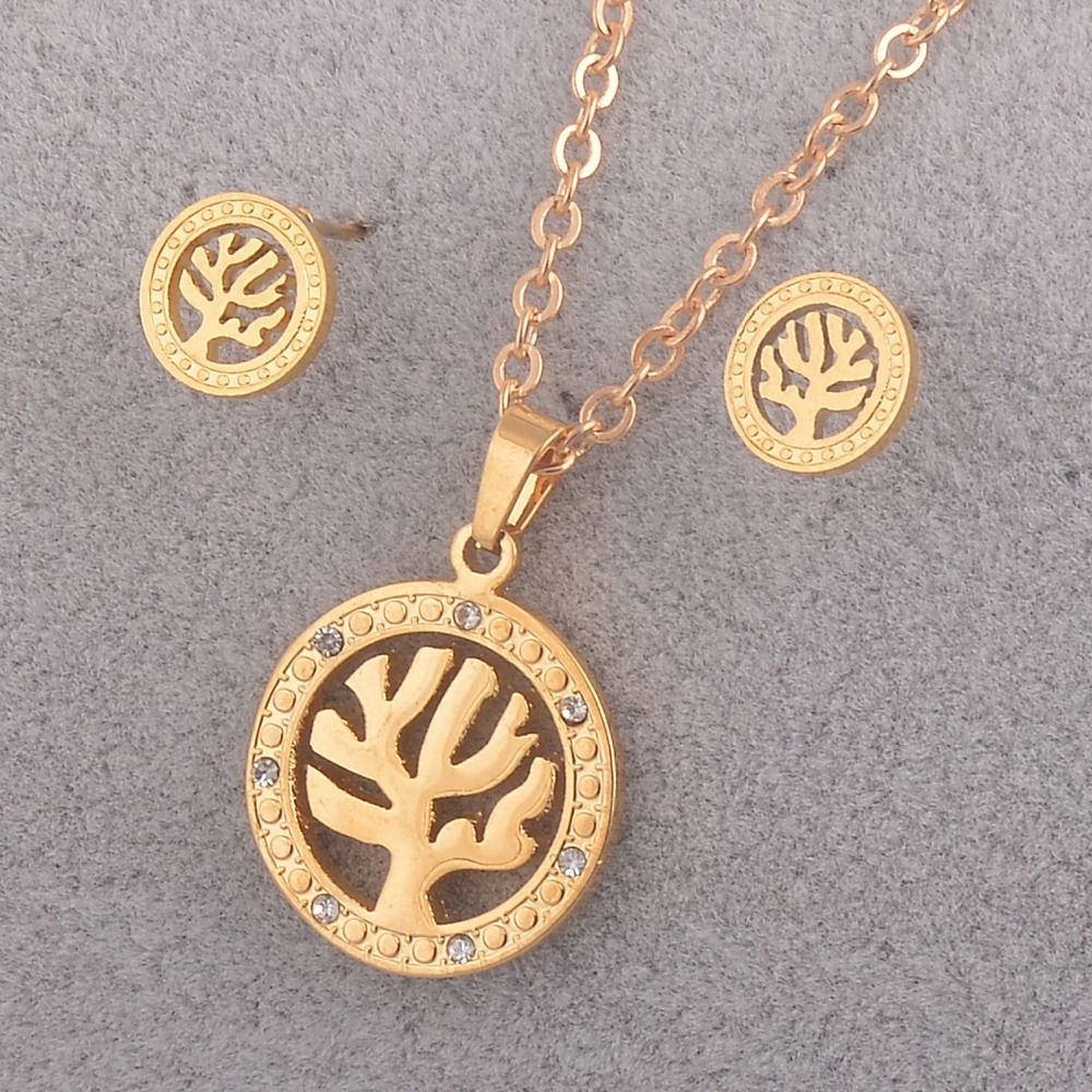 Fashion women jewelry necklace set gold stainless steel pendant with
