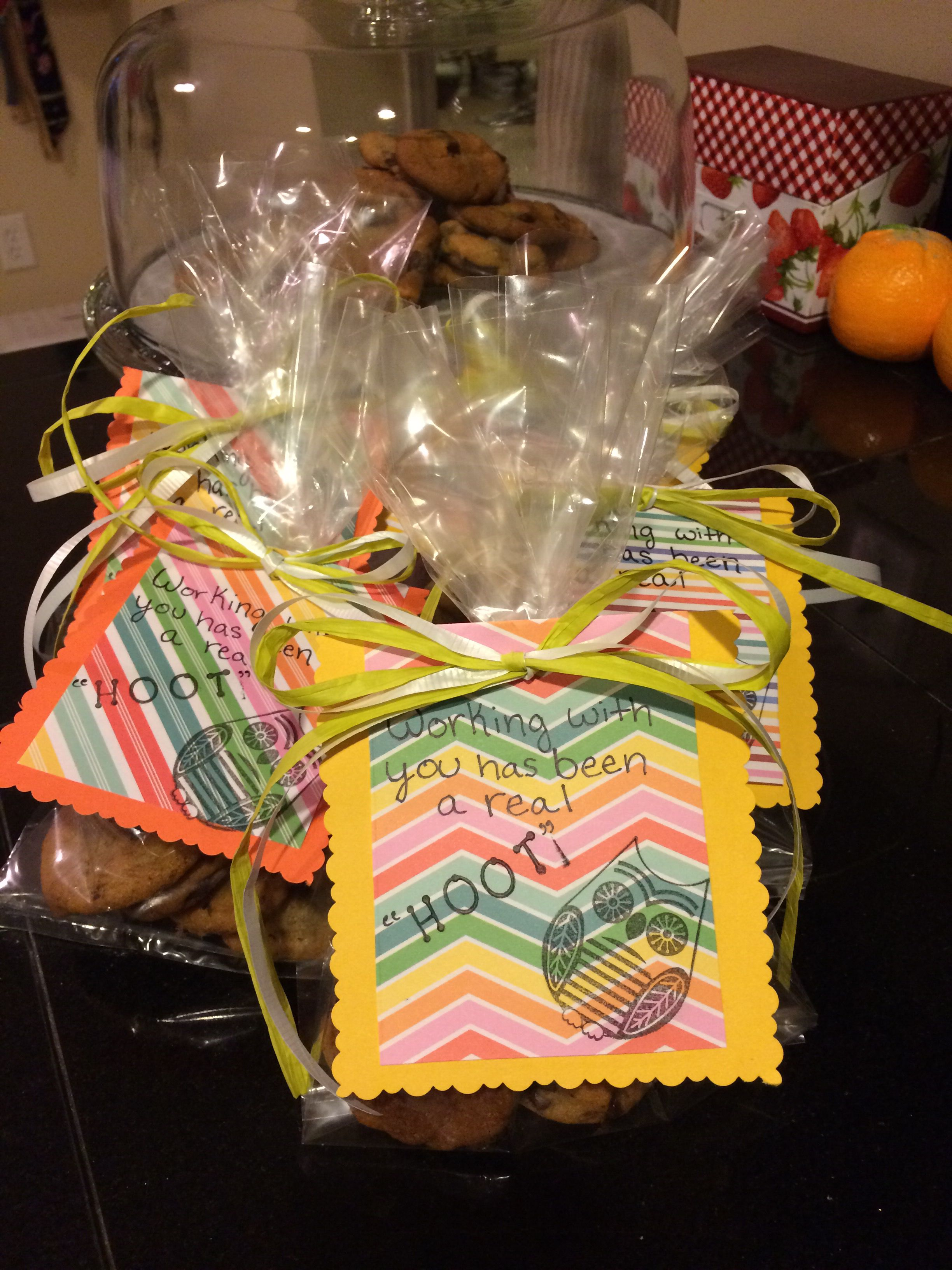 Thank you gifts for coworkers. Nice treat bags for when you are ...