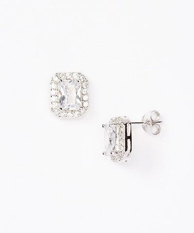 da98c9557 Another great find on #zulily! Simulated Diamond Emerald-Cut Halo Stud  Earrings #zulilyfinds