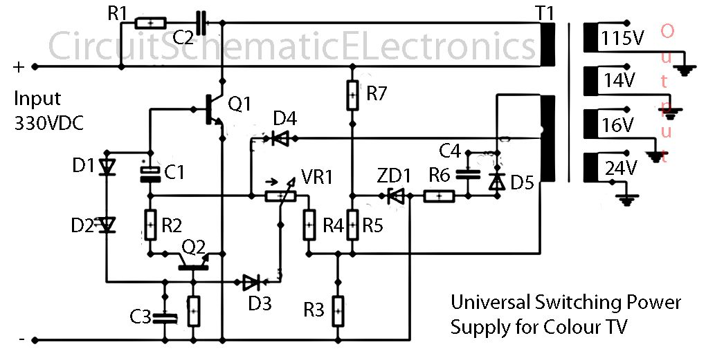 tv smps power supply circuit diagram