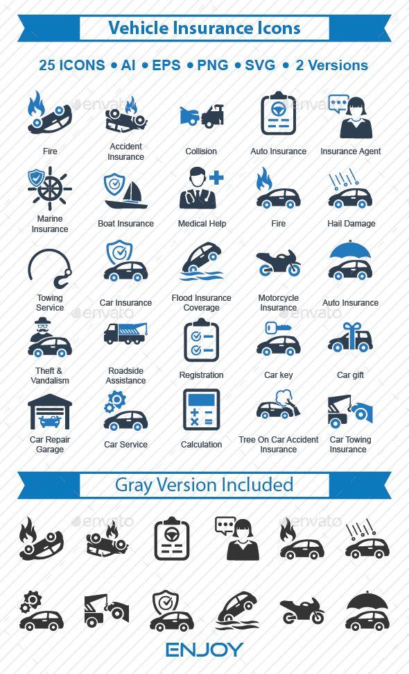 Vehicle Insurance Icons Car Insurance Insurance Registration Car