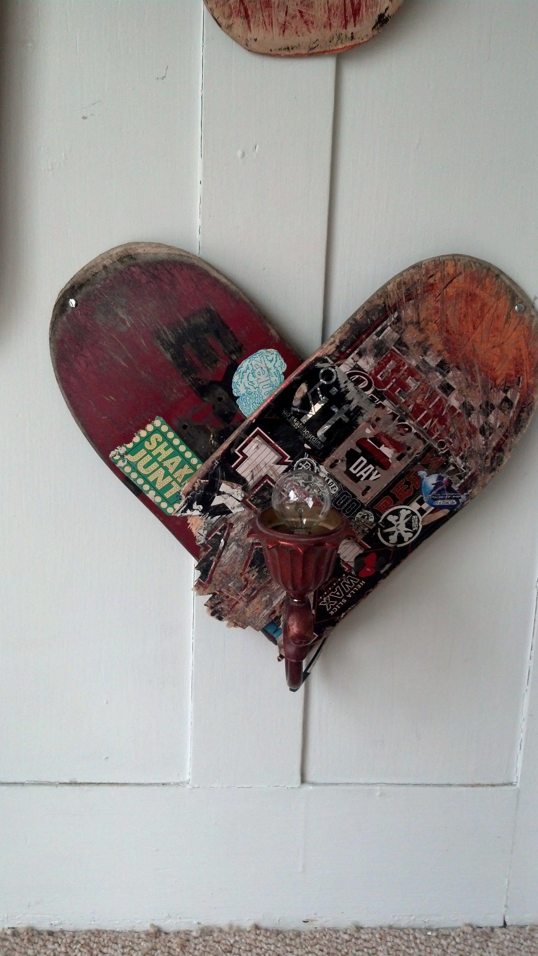 Skateboard Lamps heart skateboard art wall lamp $60 | art and creations for sale