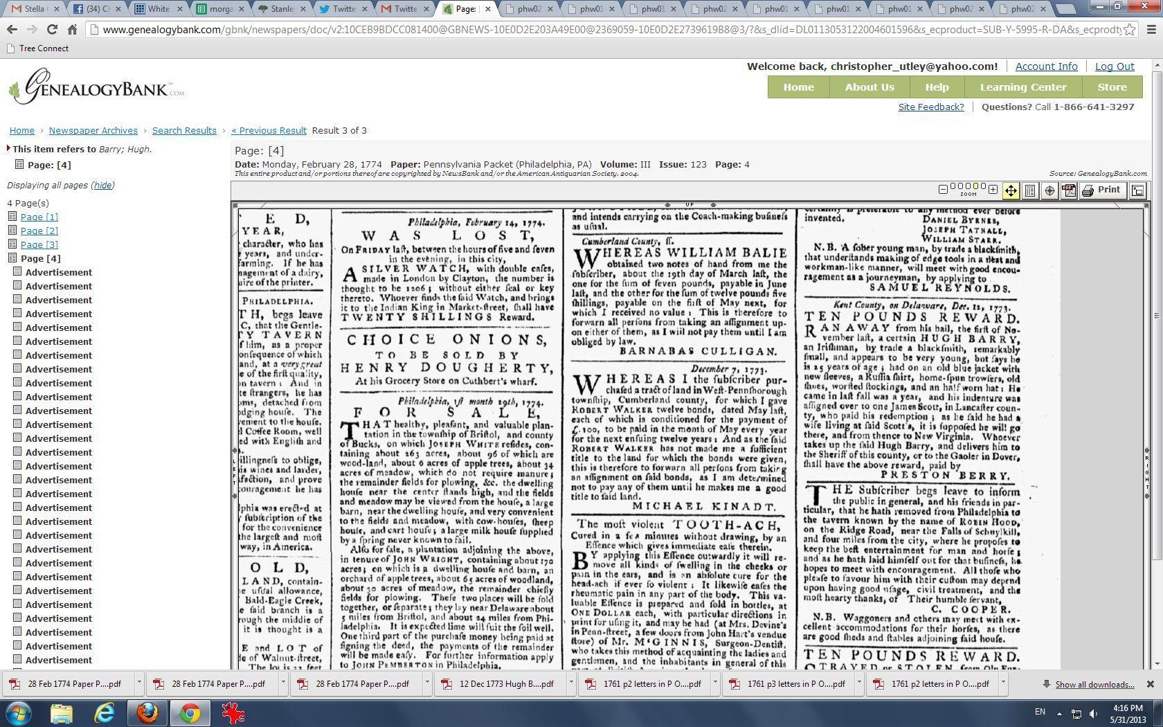 Philadelphia paper advertising runaway indentured servant
