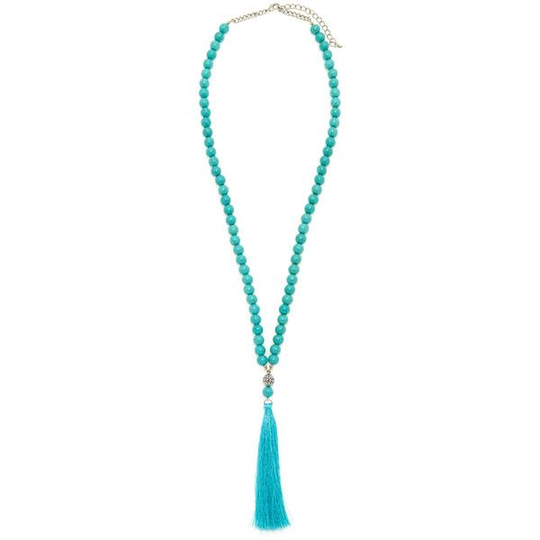 Kenneth Jay Lane Women's Tassel Beaded Pendant Necklace -... ($75) ❤ liked on Polyvore featuring jewelry, necklaces, long necklace pendant, turquoise necklace pendant, beaded tassel necklace, aqua necklace and turquoise jewelry