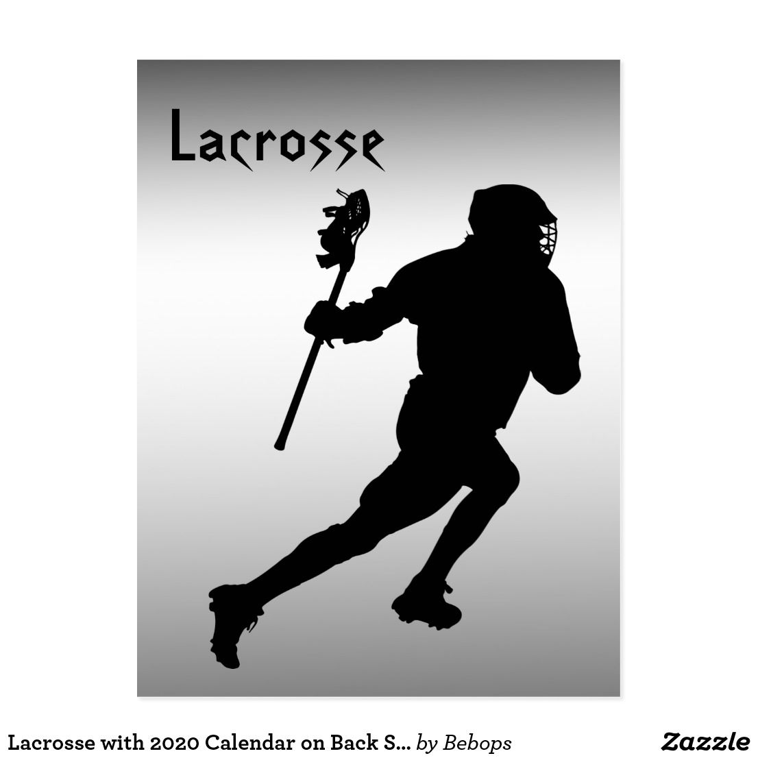 Lacrosse With 2020 Calendar On Back Sports Postcard Zazzle Com Lacrosse Postcard Sports