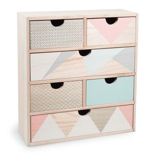 Caja con 6 cajones de madera al 34 cm anja ideas for Cajas de madera blancas
