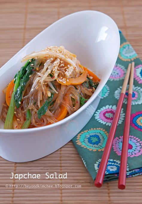 Japchae salad yummmm i love korean food this blog has sooo many i love korean food this blog has sooo many other amazing looking recipes too korean food recipes pinterest korean food recipes forumfinder Choice Image
