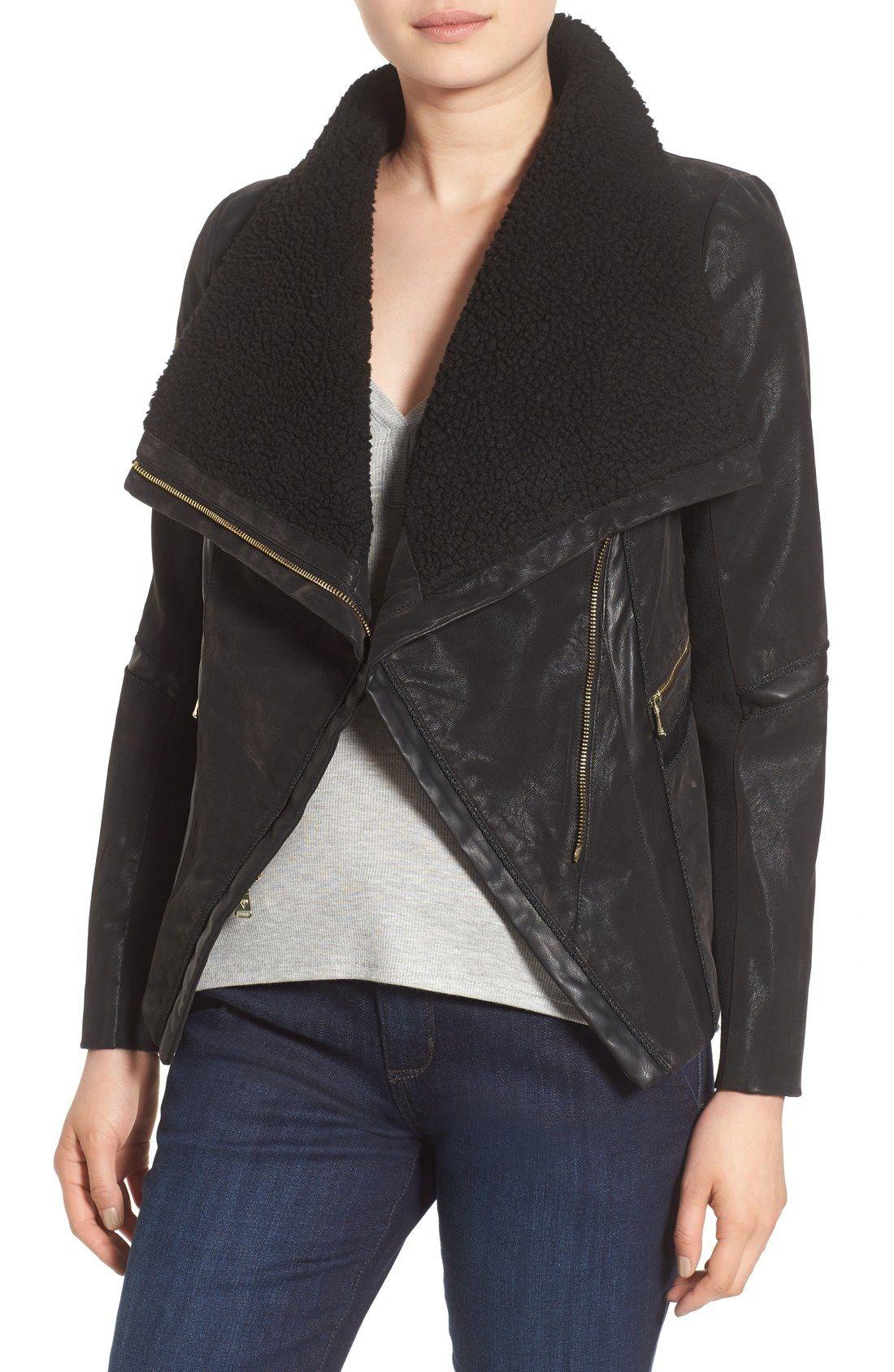 GUESS Faux Leather Moto Jacket with Faux Fur Trim Faux