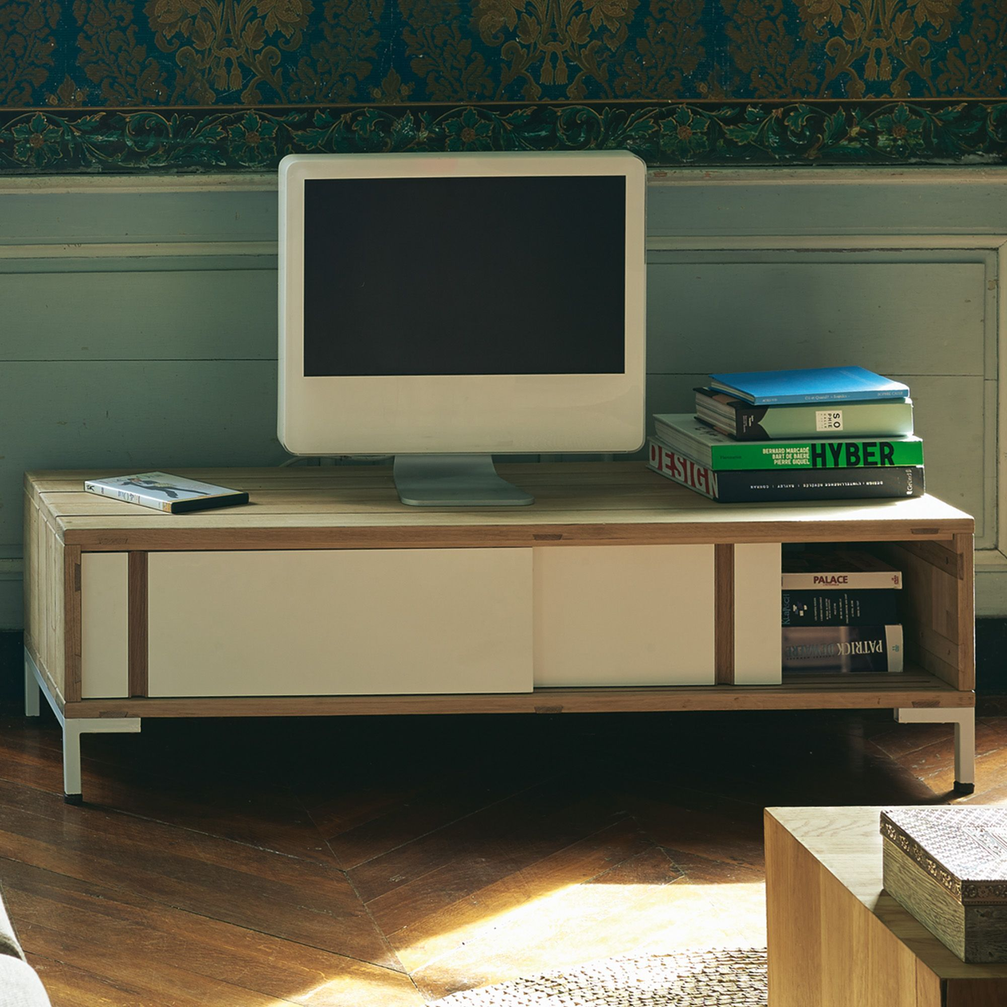 Meuble Tv Design Scandinave Naturel Blanc Westwood Les Meubles  # Meuble Tv Blanc Alinea