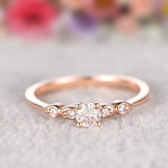 Solid 14k Gold Ring,0.5ct  Moissanite Engagement ring Rose gold,Diamond wedding band,Gemstone Promise Bridal Ring,Halo,Prongs