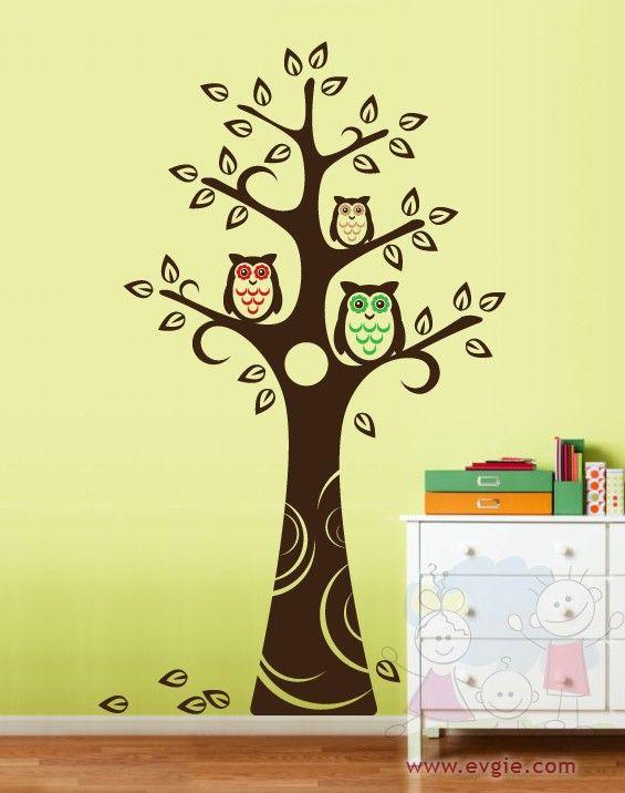 nursery tree wall decal with owls