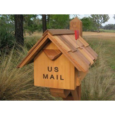 Wilray Designs Large Spring Flag Post Mounted Mailbox In