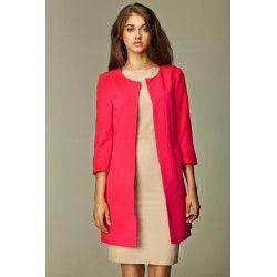 342bbc96216f3 Veste longue rose, sans col et sans bouton | Zouzou | Veste rose ...