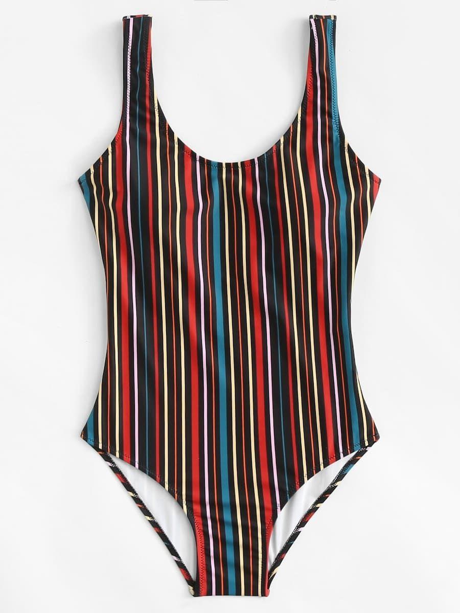 7e8a78de53 Vertical Striped U Back One Piece Tank Swimsuit -SheIn(Sheinside ...