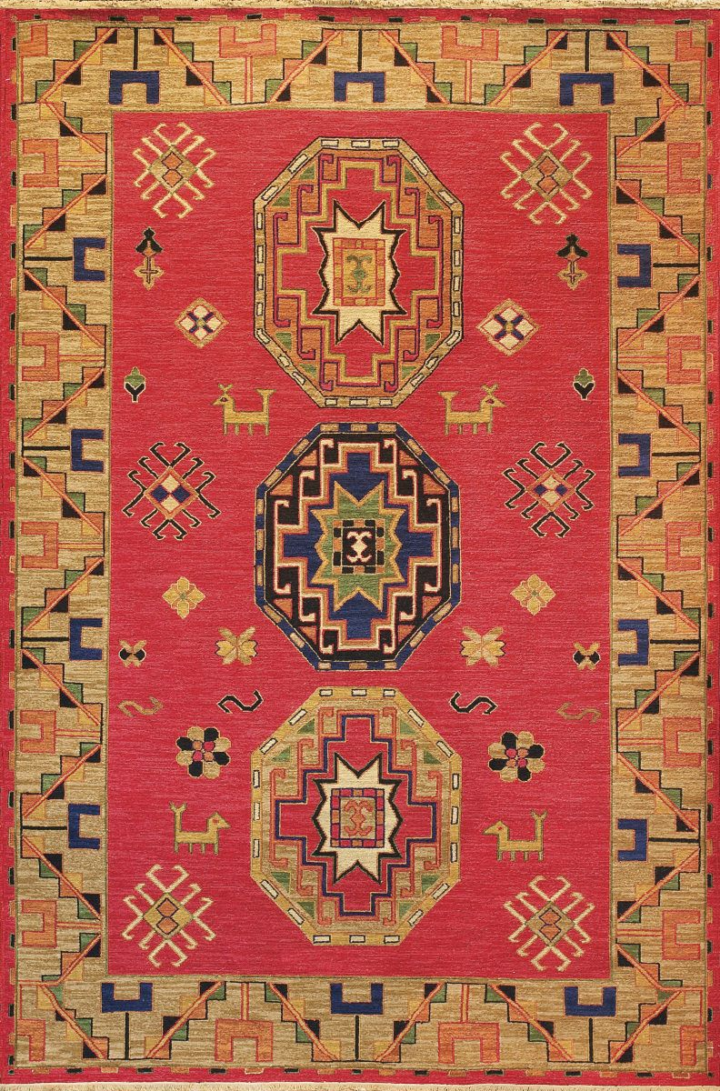 Kazak Designs Trace Their Origins Primarily To The Tribal Art Of Caucasus Region Near Caspian Sea Carpet Production In This Part World Has
