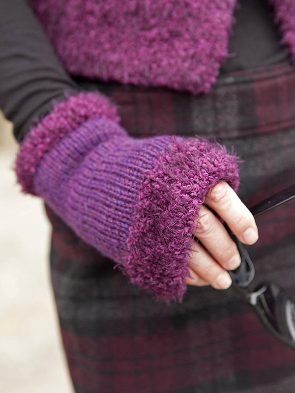 Free knitting pattern for fingerless mitts Enrol with faux fur yarn lining