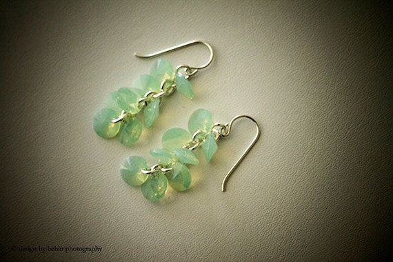 Chrysolite Opal Green Swarovski Crystals Cluster Sterling Silver Earrings#Bridal Wedding Bridesmaid Gift#Contemporary Chic. https://www.etsy.com/listing/112997678/chrysolite-opal-green-swarovski-crystals