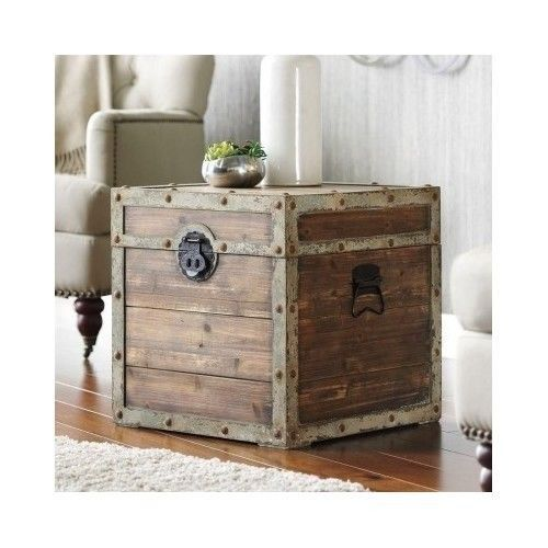 Bon Antique Storage Trunk Vintage Rustic Wooden Chest Box Side End Table Crate  Decor