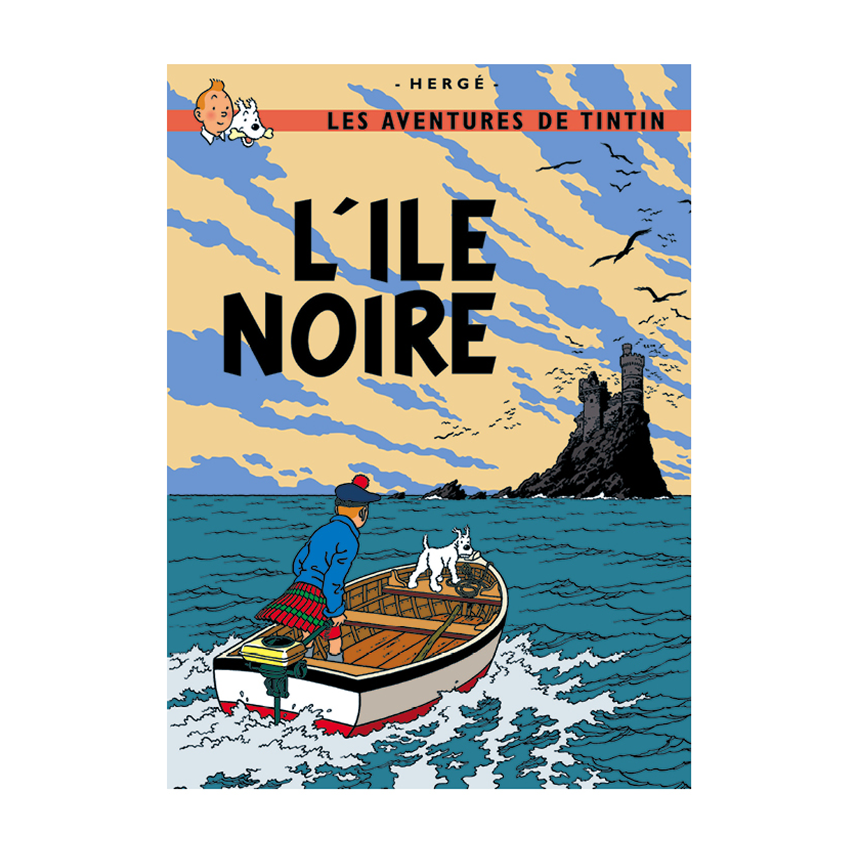 Tintin L'Ile Noire Poster: This vintage Tintin poster was originally designed by Herge. This poster is of the book cover featuring the original French text.