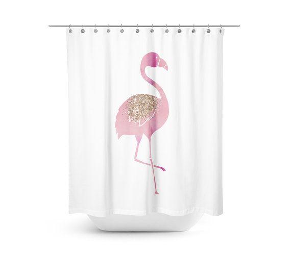 flamingo shower curtain pink bathroom decor by rubyandb on etsy - Pink Flamingo Bath Decor