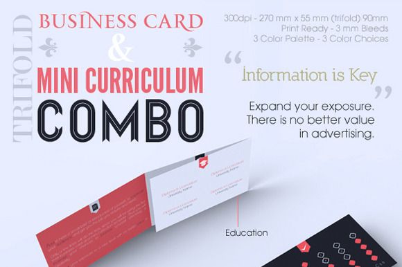 Trifold Business Card \ CV Combo - Creative Resume, Professional - unique resume format