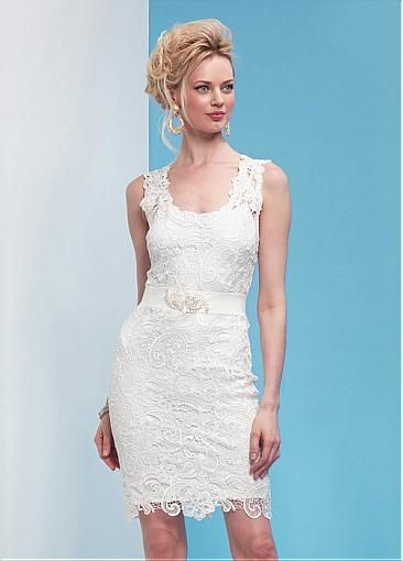 Exquisite Lace & Satin Scoop Neckline Sheath Wedding Dresses