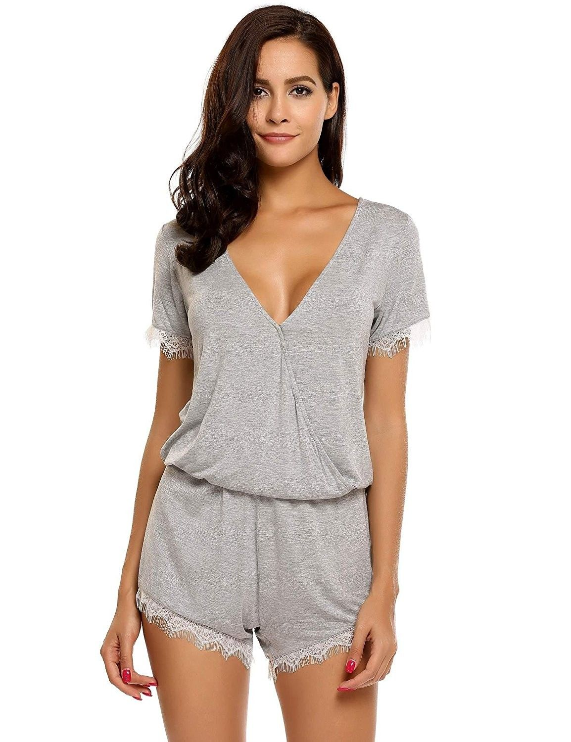 Womens Sexy V Neck Lace Trim Short Sleeve Rompers Jumpsuits