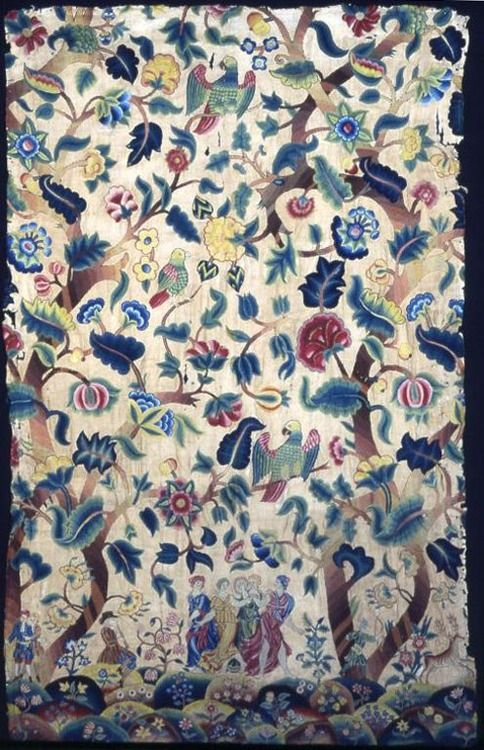 objectcuriosity:  Textile Panel, late 17th or early 18th century, England, linen and cotton, plain weave, embroidered with wool yarns, Art Institute of Chicago.