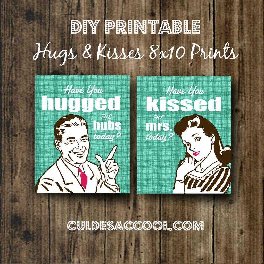 DIY PRINTABLE FREE HUGS KISSES 810 PRINTS