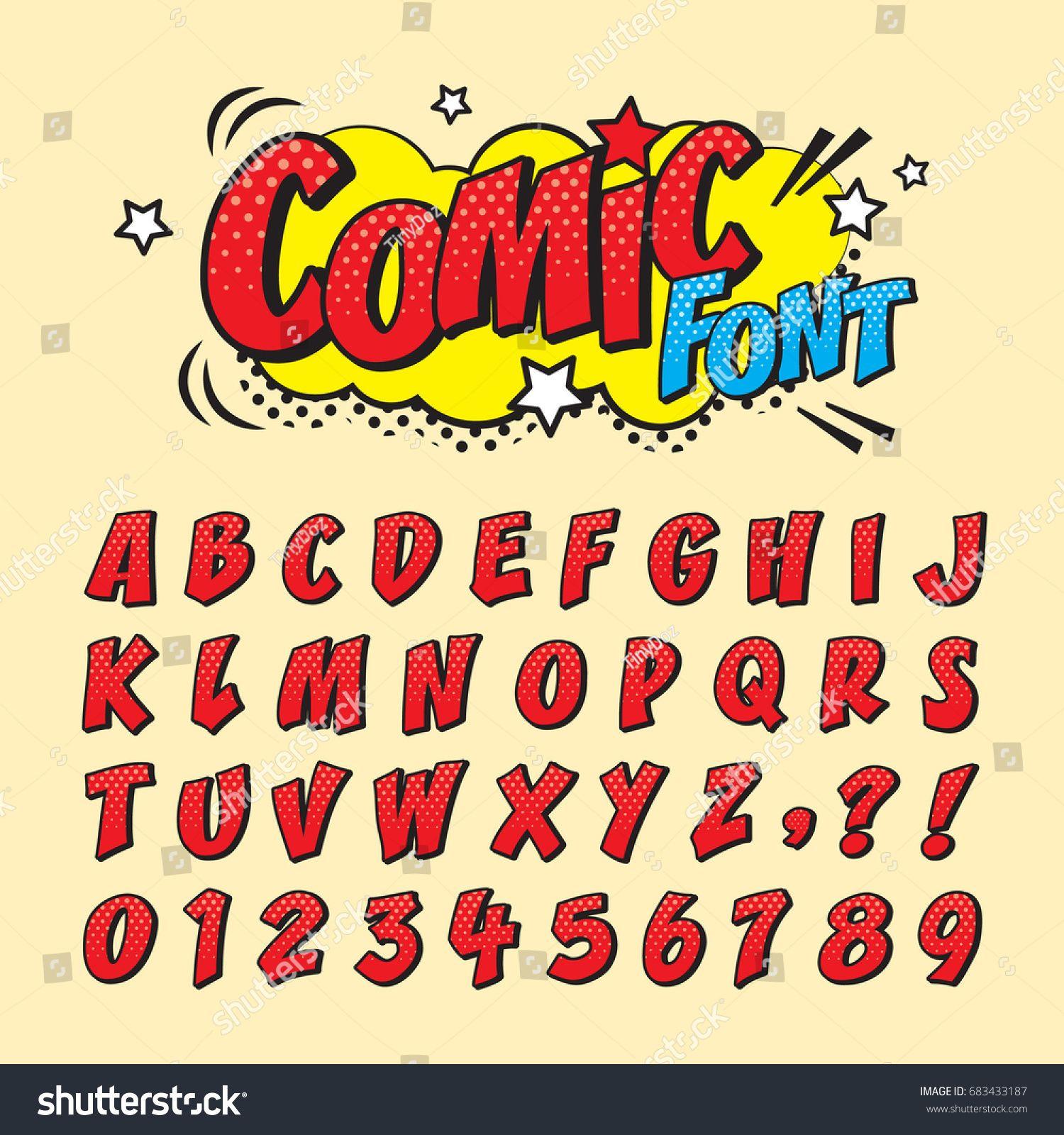 Comic Retro Font Set Alphabet Letters
