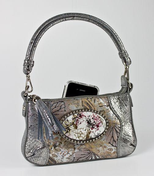 Debbie Brooks Tiny Shoulder Handbag Silver Leather with Silver Hardware