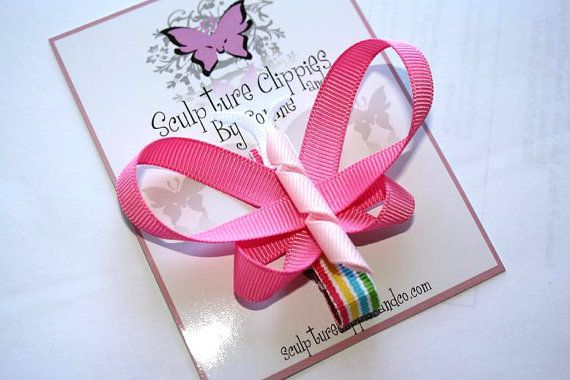 Sculpture Clippies Hot Pink Butterfly Bow. Rainbow Butterfly Ribbon Sculpture Clip. Free Ship Promo. via Etsy