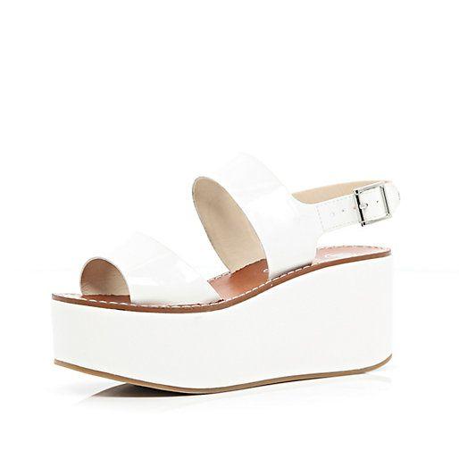 Sandales à semelle plateforme blanches