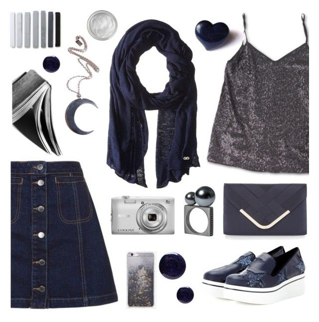 """""""Silver and Dark Blue"""" by deepwinter ❤ liked on Polyvore featuring Topshop, Cole Haan, STELLA McCARTNEY, Accessorize, Nikon, Lauren B. Beauty, Kill Star, Skinnydip and Silver Lining"""