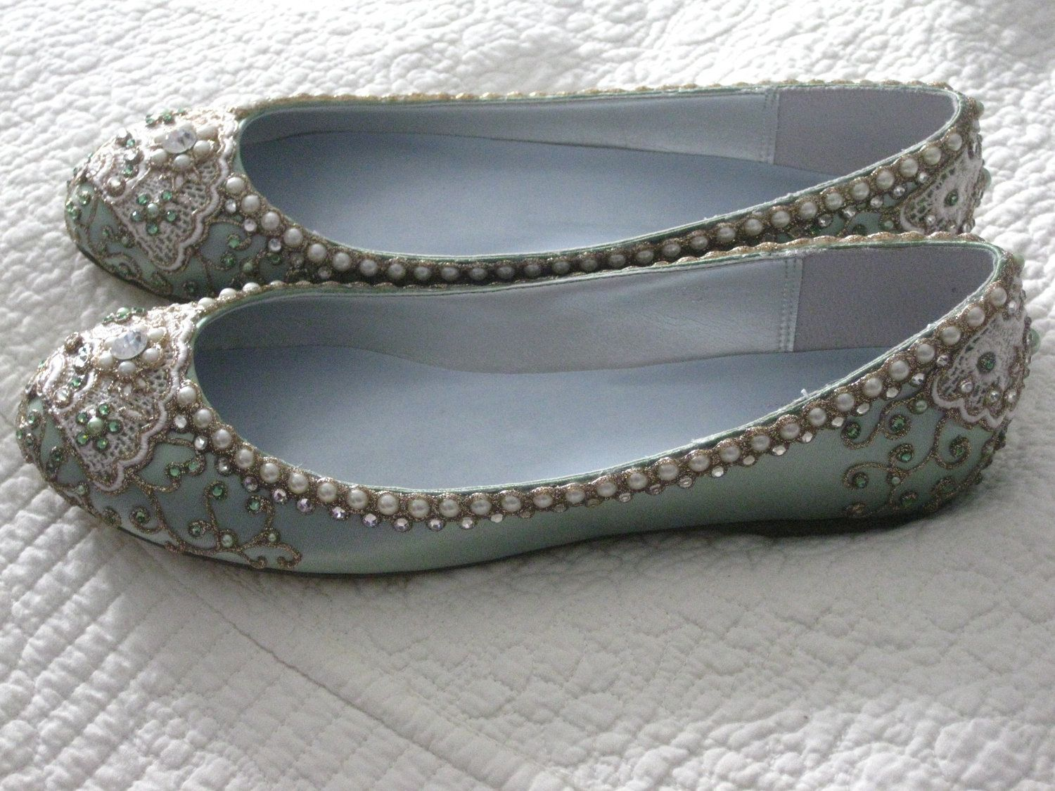 15bf11326f29 Cinderella s Slipper Bridal Ballet Flats Wedding Shoes - Any Size - Pick  your own shoe color and crystal color.  245.00