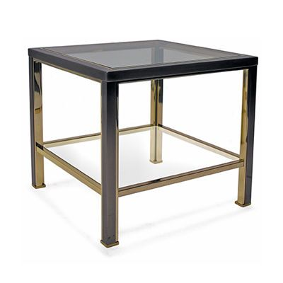 vintage brass and chrome square two tier side table with inner brass rh pinterest com
