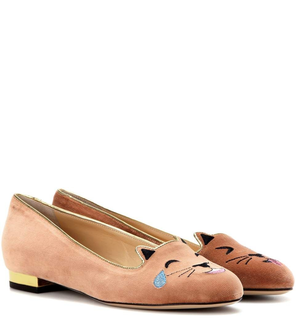 Charlotte Olympia Kitten embroided ballerina shoes f