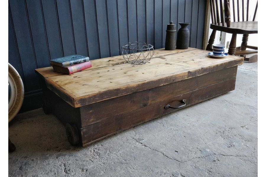 antique pine storage box wooden box on wheels coffee table quirky rh pinterest com