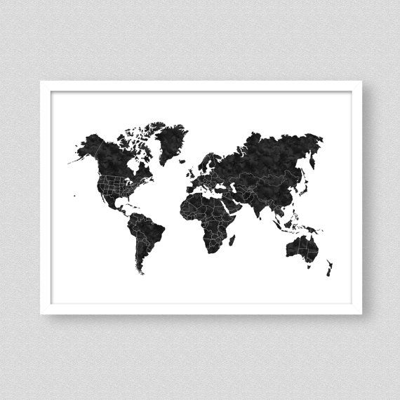 Black and white world map poster monochrome nursery monochrome black and white world map poster monochrome nursery monochrome print world map kids gumiabroncs Images