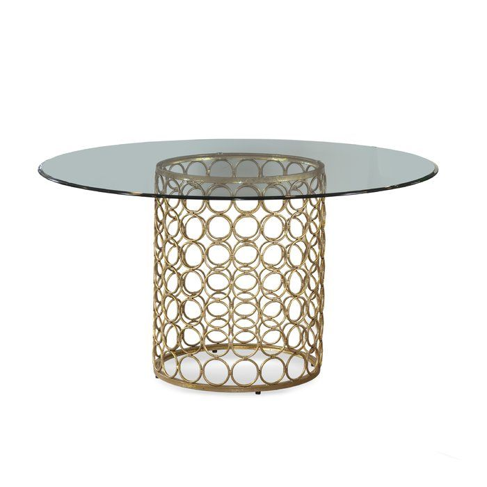 this glamorous table features a glass top and golden base making it rh pinterest at