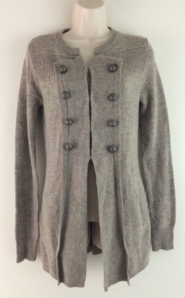 NWT FREE PEOPLE Taupe Heather Brown Knit Napoleon Military Cardigan S Small   FreePeople  Cardigan 519d47127