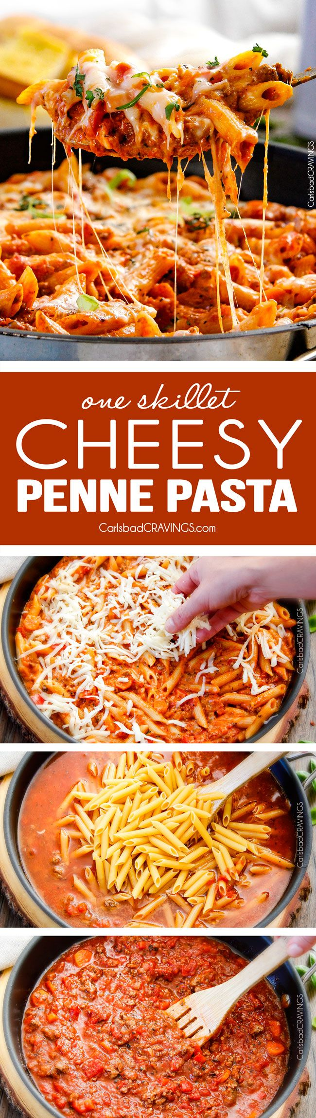 One Skillet Cheesy Penne - the best homemade ragu sauce simmered right with the pasta then loaded with cheese! My family begs me to make this weekly!