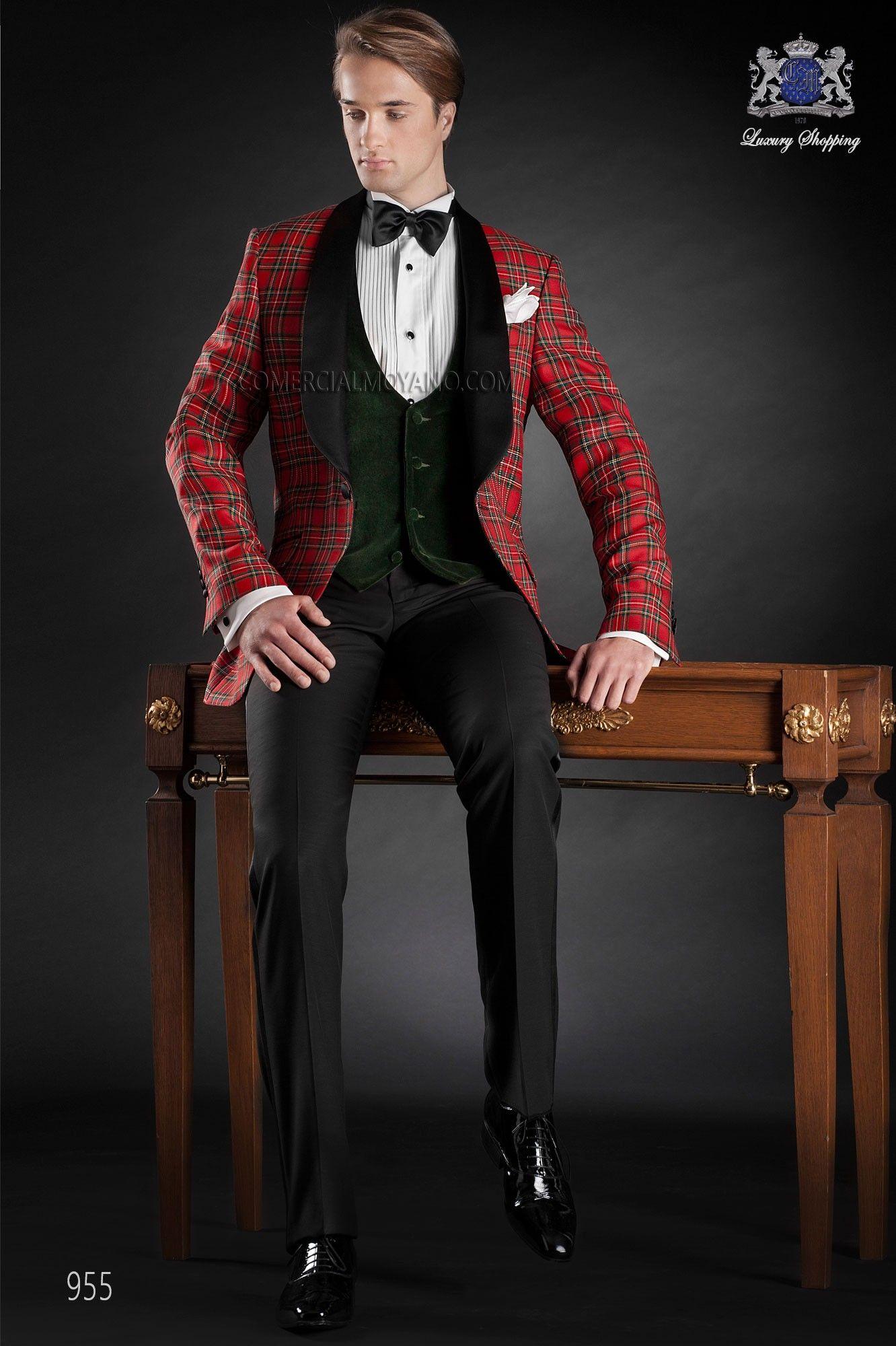 Traje italiano, chaqueta tartan rojo 100% lana con solapa chal raso negro y un boton; coordinado con pantalon negro, modelo 955 Ottavio Nuccio Gala colección Black Tie 2015.