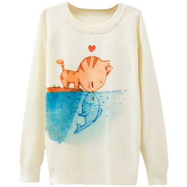 Ladies Crew Neck Cat Kiss Fish Printed Pullover Sweater White ($12 ...
