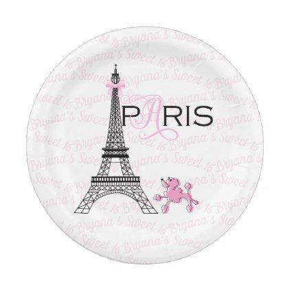 Pink Bow Eiffel Tower Paris France Poodle Party Paper Plate  sc 1 st  Pinterest & Pink Bow Eiffel Tower Paris France Poodle Party Paper Plate | Bridal ...