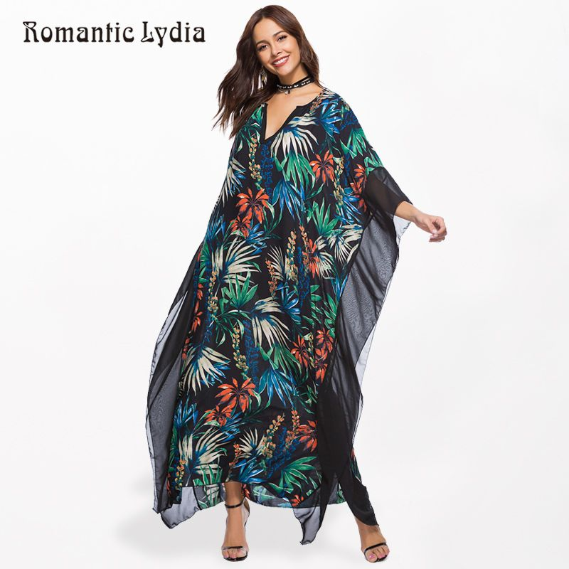 66b77e7d941 Women Kaftan Long Boho Dress Plus Size Summer Chiffon Loose Robe Femme Bohemian  Maxi Dresses Large Sizes New Arrival 2018 Price  49.00   FREE Shipping   ...