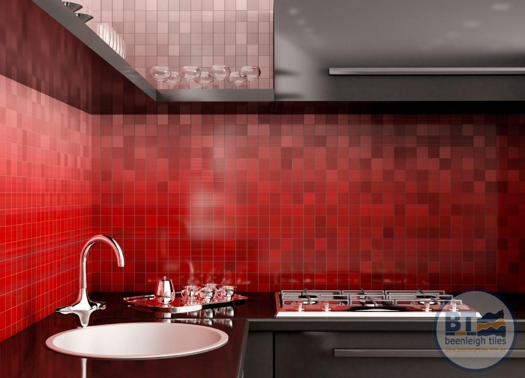 Kitchen With Bright Red Mosaic Splash Back And Black Cabinets