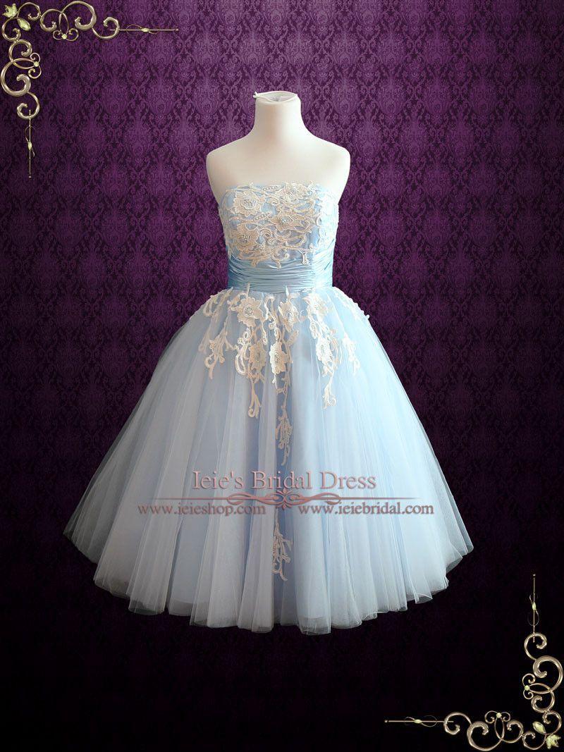 a1bc00495d9c Ice Blue Retro Tea Length Ballerina Style Formal Dress | Kelsey | Ieie's  Bridal Wedding Dress