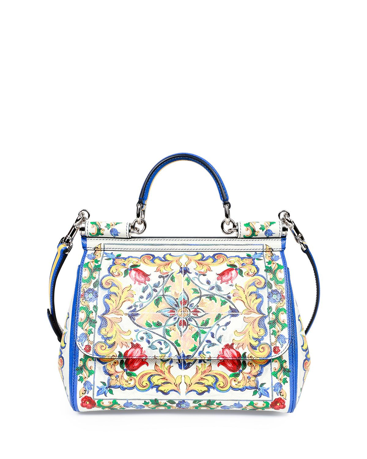 85336c9ba75 Miss Sicily Medium Leather St. Maioliche Tile Satchel Bag, Multicolor,  Size  M, Multi - Dolce   Gabbana