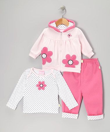 Another great find on #zulily! Pink Polka Dot Flower Zip-Up Hoodie Set - Infant by Duck Duck Goose #zulilyfinds